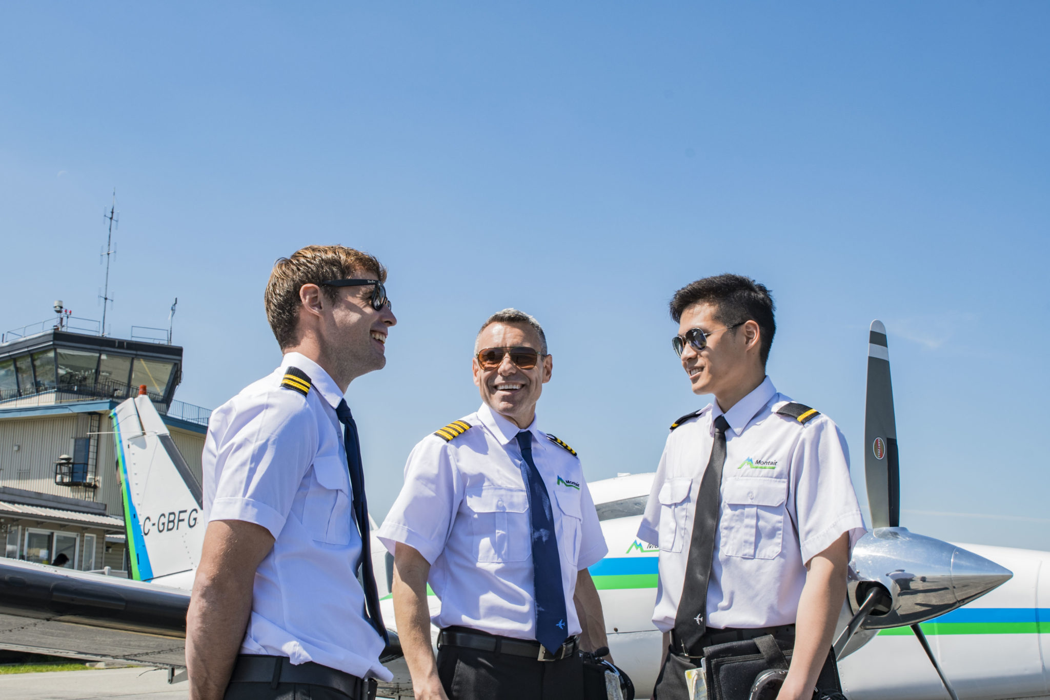 Montair flight instructors with student