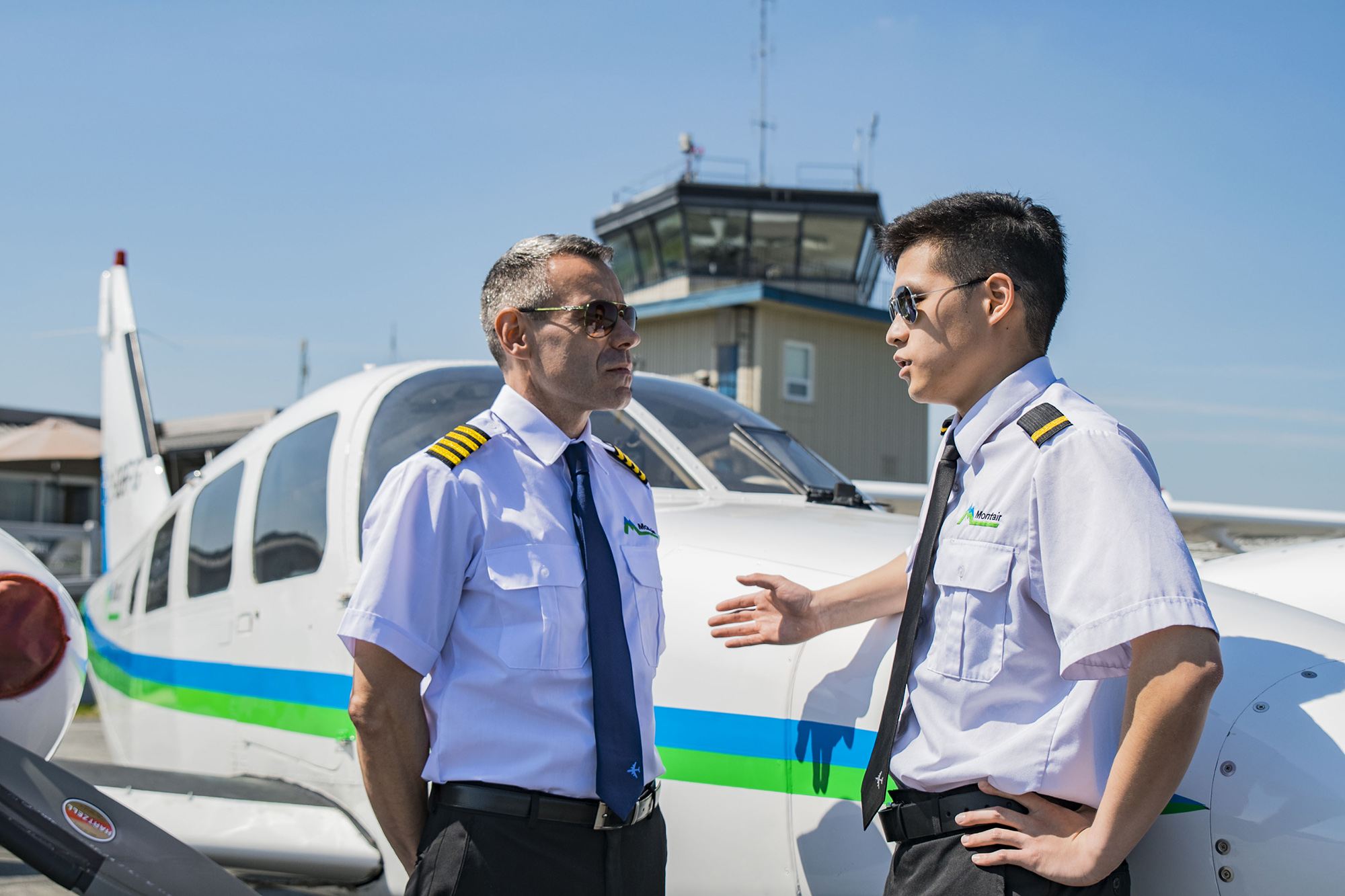 Flight instructor with air cadet